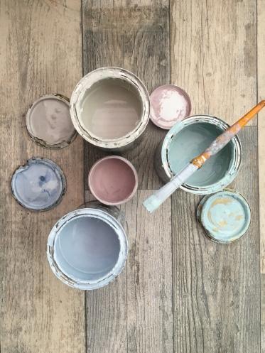 pastel paint pots