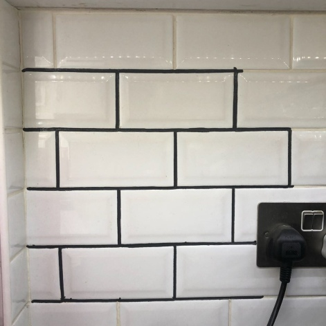 grout pen update kitchen tiles