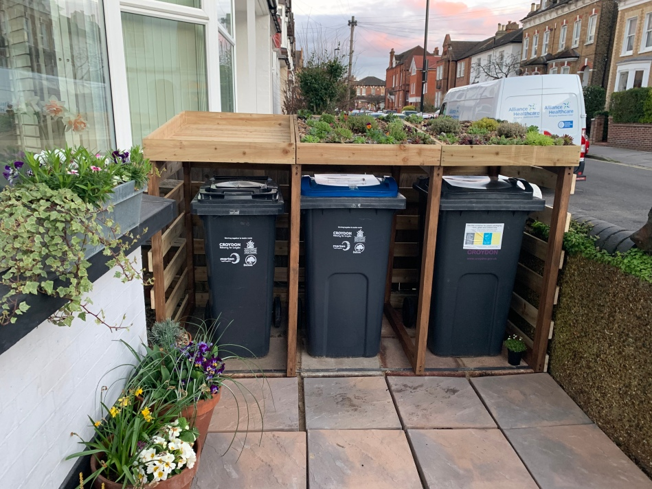 living roof bin store planters