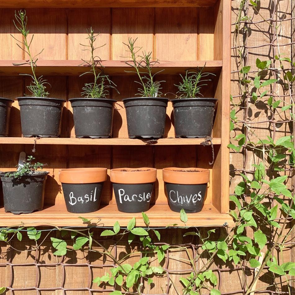 outdoor herb rack planter