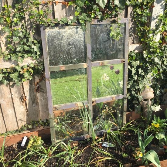 diy rustic garden mirror
