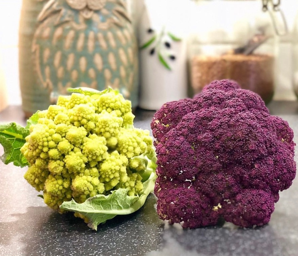 homegrown purple and romanesco broccoli
