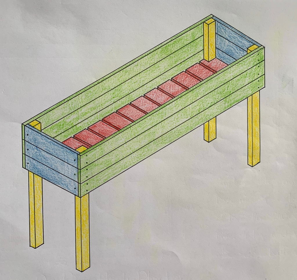 DIY herb planter diagram for building